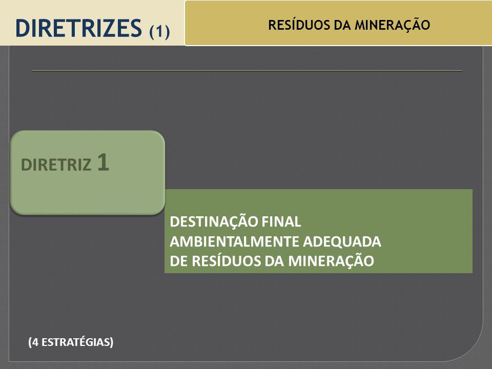 DIRETRIZES (1) RESÍDUOS DA MINERAÇÃO DESTINAÇÃO FINAL AMBIENTALMENTE ADEQUADA DE RESÍDUOS DA MINERAÇÃO DIRETRIZ 1 (4 ESTRATÉGIAS)