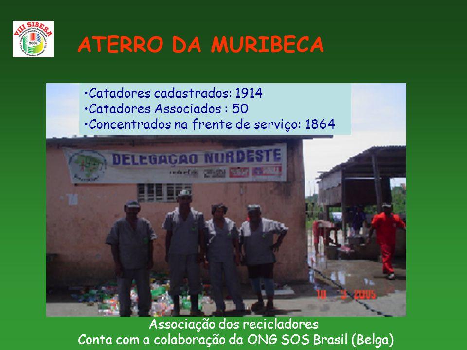 Associação dos recicladores Conta com a colaboração da ONG SOS Brasil (Belga) ATERRO DA MURIBECA Catadores cadastrados: 1914 Catadores Associados : 50 Concentrados na frente de serviço: 1864