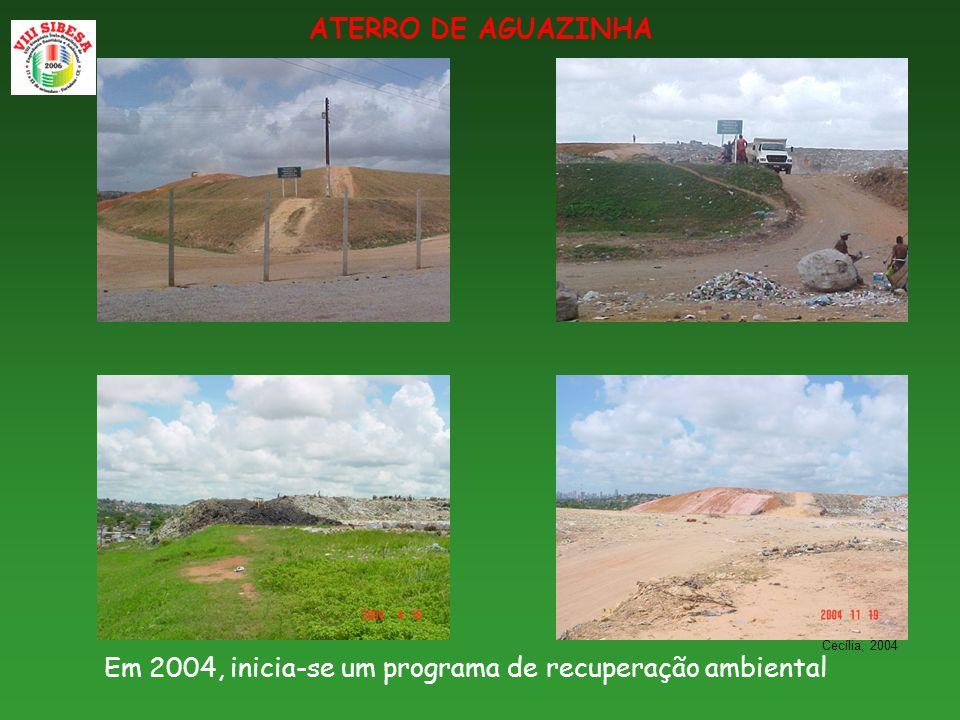 ATERRO DE AGUAZINHA Em 2004, inicia-se um programa de recuperação ambiental Cecília, 2004