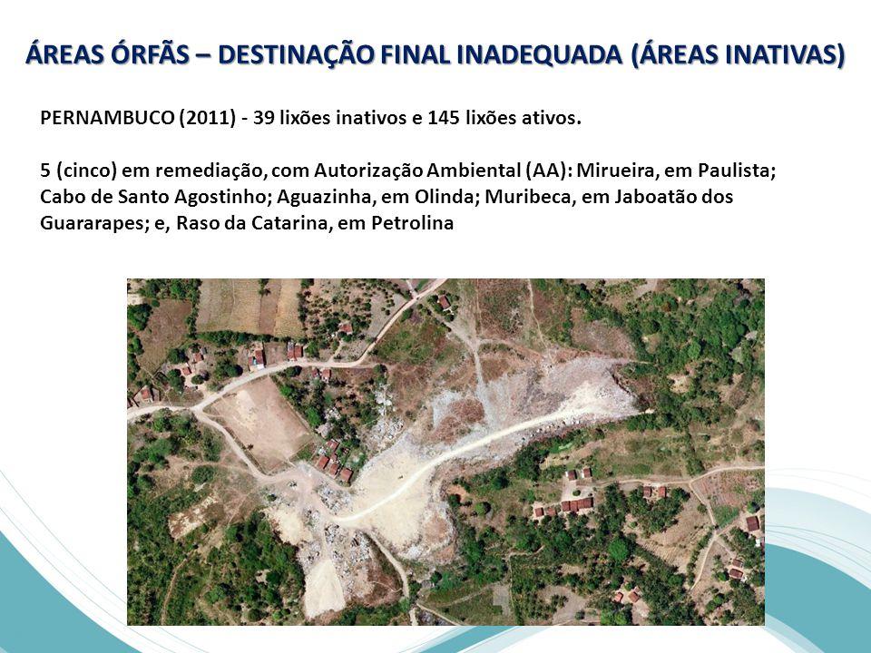 PERNAMBUCO (2011) - 39 lixões inativos e 145 lixões ativos.
