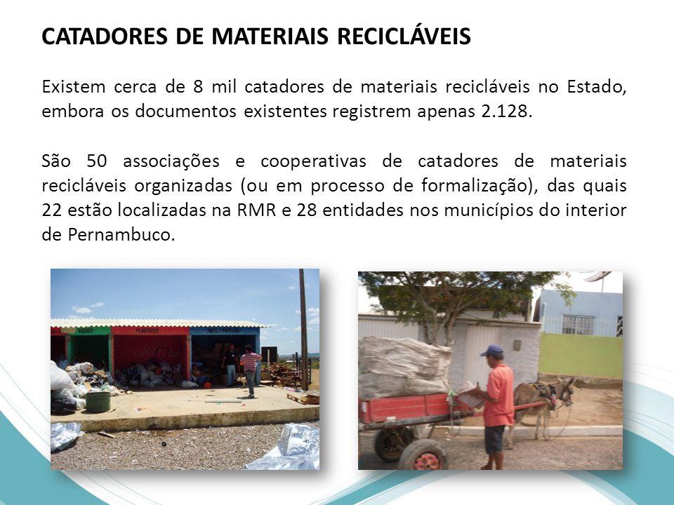 CATADORES DE MATERIAIS RECICLÁVEIS Existem cerca de 8 mil catadores de materiais recicláveis no Estado, embora os documentos existentes registrem apenas 2.128.