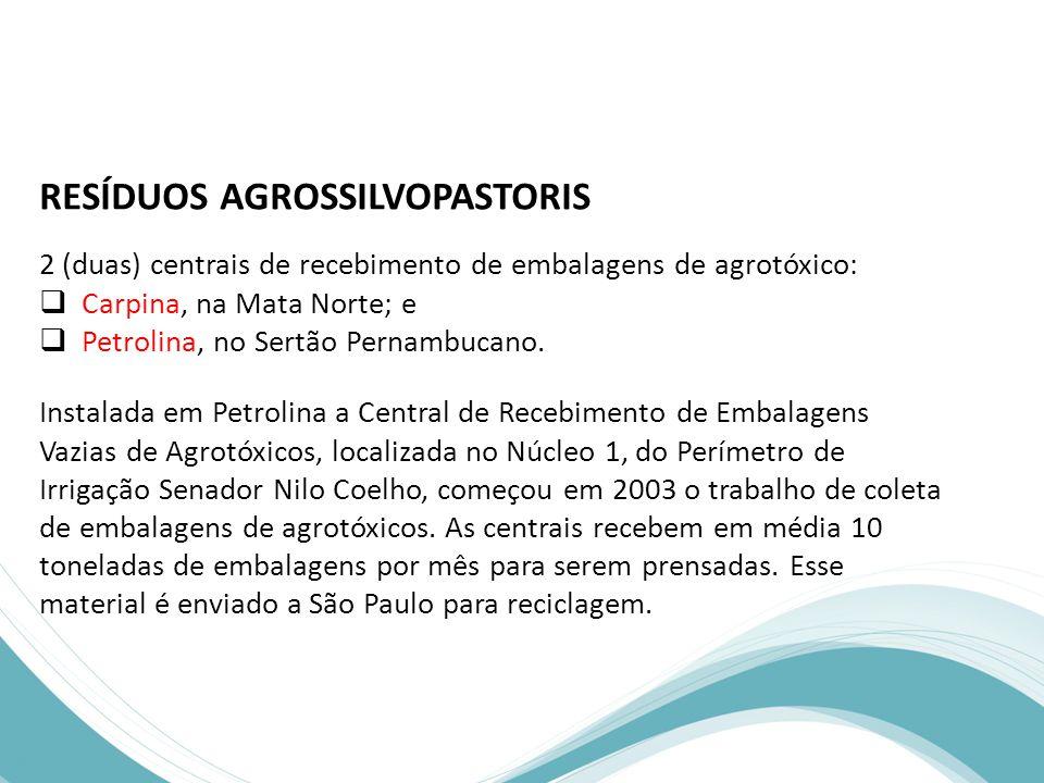 RESÍDUOS AGROSSILVOPASTORIS 2 (duas) centrais de recebimento de embalagens de agrotóxico:  Carpina, na Mata Norte; e  Petrolina, no Sertão Pernambucano.