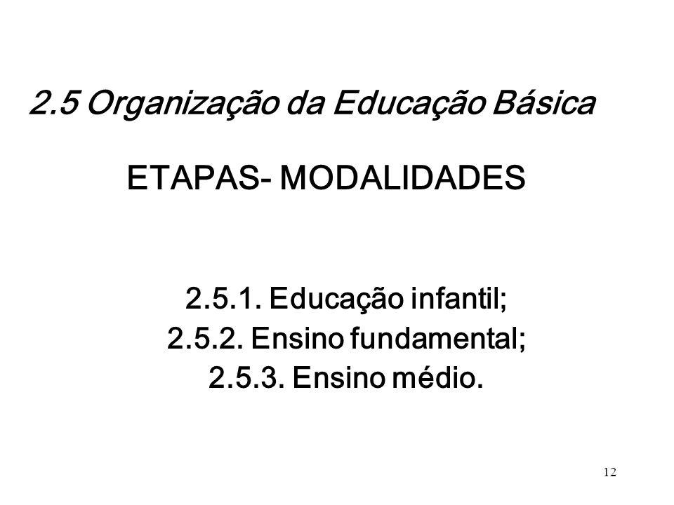 ETAPAS- MODALIDADES 2.5.1. Educação infantil; 2.5.2. Ensino fundamental; 2.5.3. Ensino médio. 12 2.5 Organização da Educação Básica