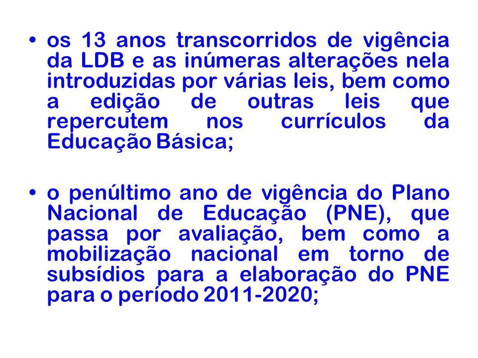 os 13 anos transcorridos de vigência da LDB e as inúmeras alterações nela introduzidas por várias leis, bem como a edição de outras leis que repercute