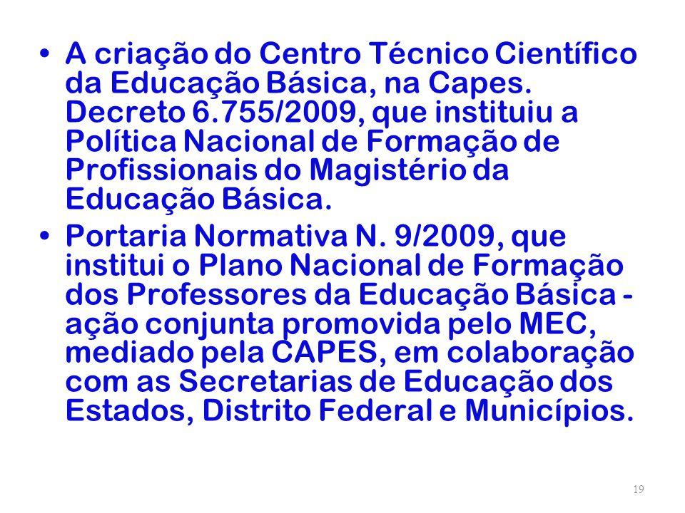 A criação do Centro Técnico Científico da Educação Básica, na Capes. Decreto 6.755/2009, que instituiu a Política Nacional de Formação de Profissionai