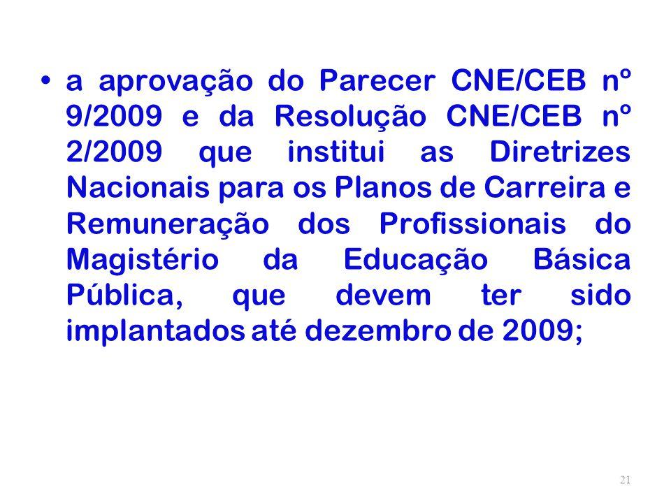 a aprovação do Parecer CNE/CEB nº 9/2009 e da Resolução CNE/CEB nº 2/2009 que institui as Diretrizes Nacionais para os Planos de Carreira e Remuneraçã