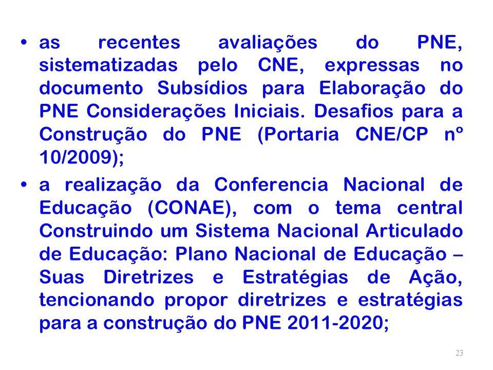 as recentes avaliações do PNE, sistematizadas pelo CNE, expressas no documento Subsídios para Elaboração do PNE Considerações Iniciais. Desafios para