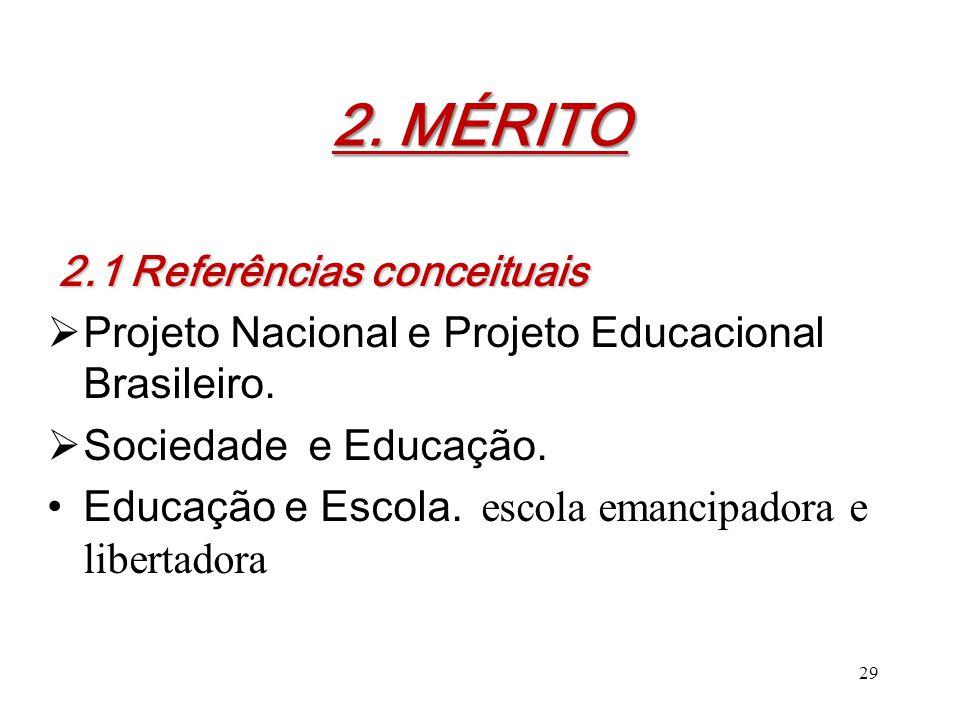 2. MÉRITO 2. MÉRITO 2.1 Referências conceituais  Projeto Nacional e Projeto Educacional Brasileiro.  Sociedade e Educação. Educação e Escola. escola