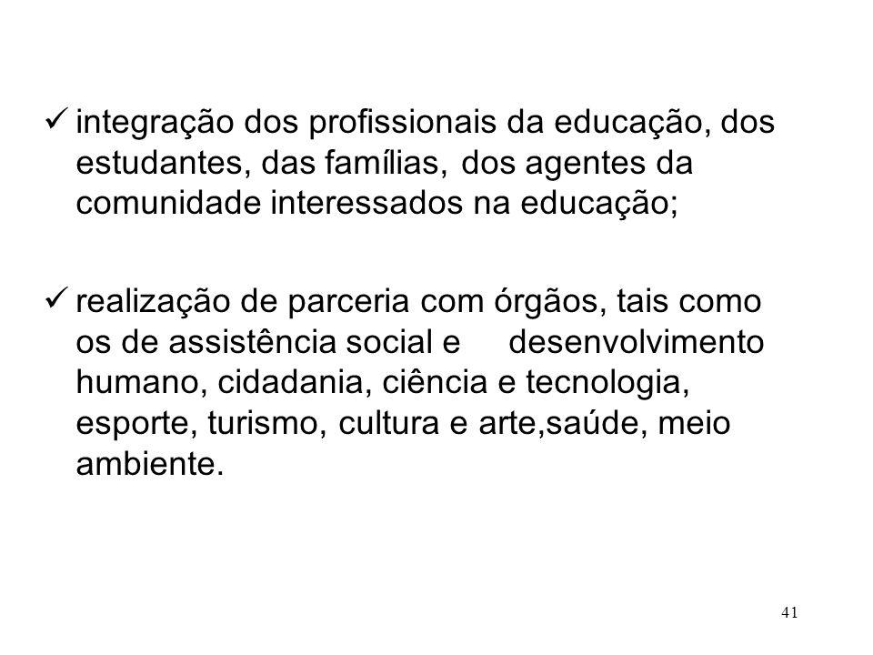 integração dos profissionais da educação, dos estudantes, das famílias, dos agentes da comunidade interessados na educação; realização de parceria com
