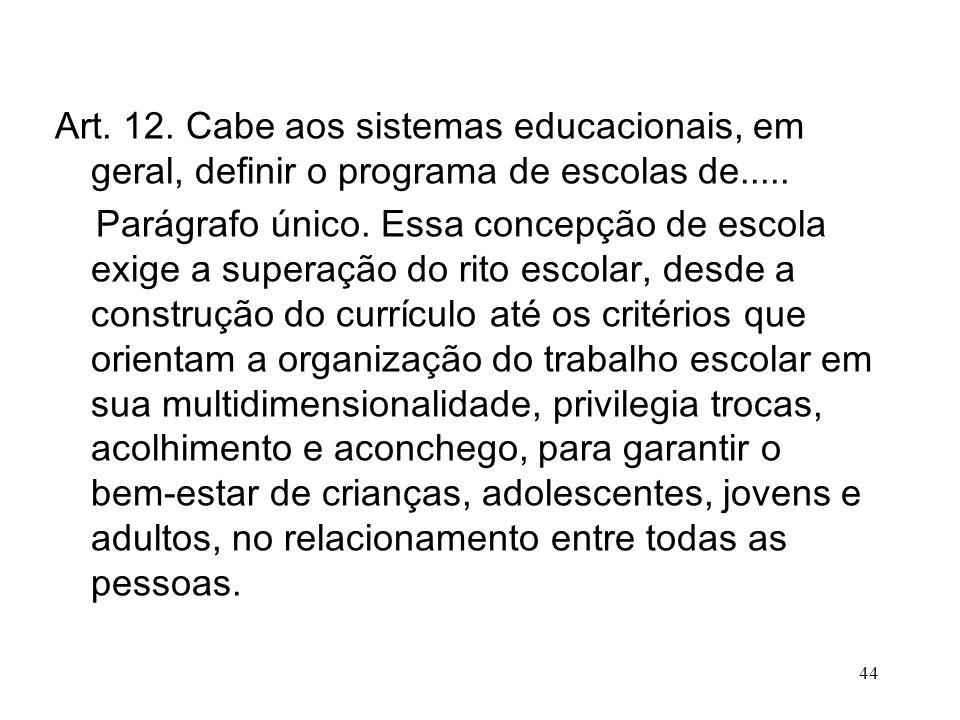 Art. 12. Cabe aos sistemas educacionais, em geral, definir o programa de escolas de..... Parágrafo único. Essa concepção de escola exige a superação d