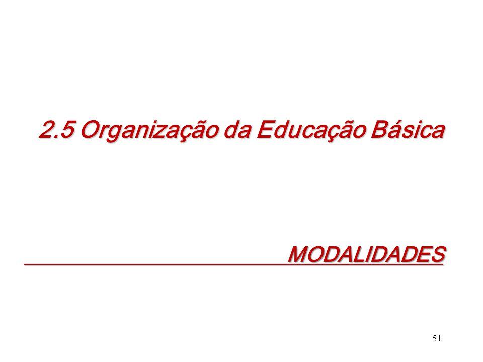 MODALIDADES MODALIDADES 51 2.5 Organização da Educação Básica