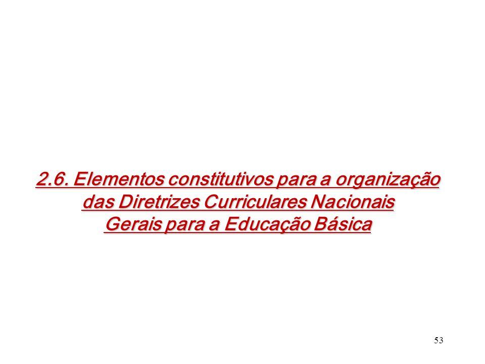 2.6. Elementos constitutivos para a organização das Diretrizes Curriculares Nacionais Gerais para a Educação Básica 53