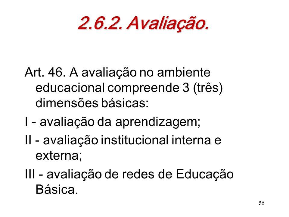 2.6.2. Avaliação. Art. 46. A avaliação no ambiente educacional compreende 3 (três) dimensões básicas: I - avaliação da aprendizagem; II - avaliação in