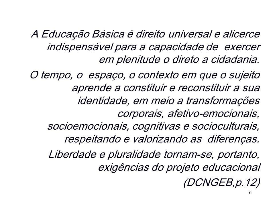 A Educação Básica é direito universal e alicerce indispensável para a capacidade de exercer em plenitude o direto a cidadania. O tempo, o espaço, o co