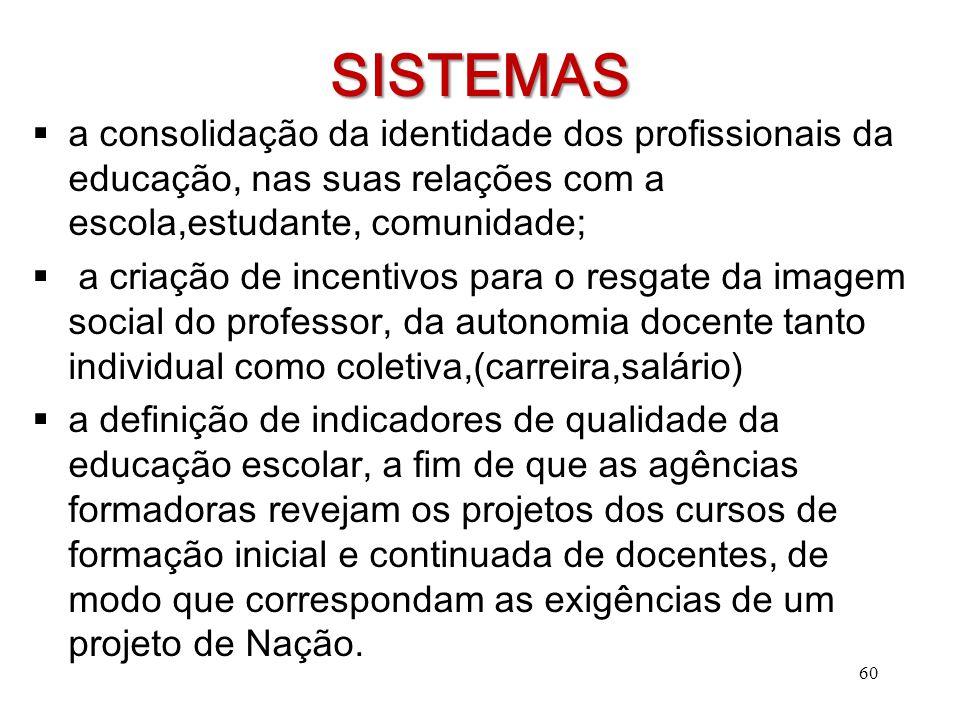 SISTEMAS  a consolidação da identidade dos profissionais da educação, nas suas relações com a escola,estudante, comunidade;  a criação de incentivos