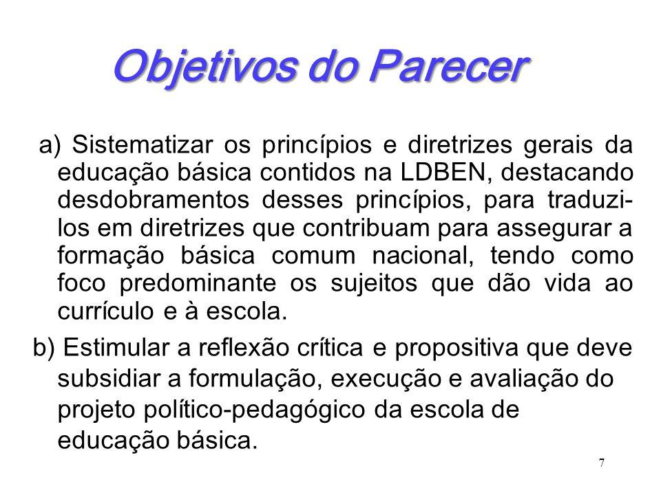 Objetivos do Parecer a) Sistematizar os princípios e diretrizes gerais da educação básica contidos na LDBEN, destacando desdobramentos desses princípi