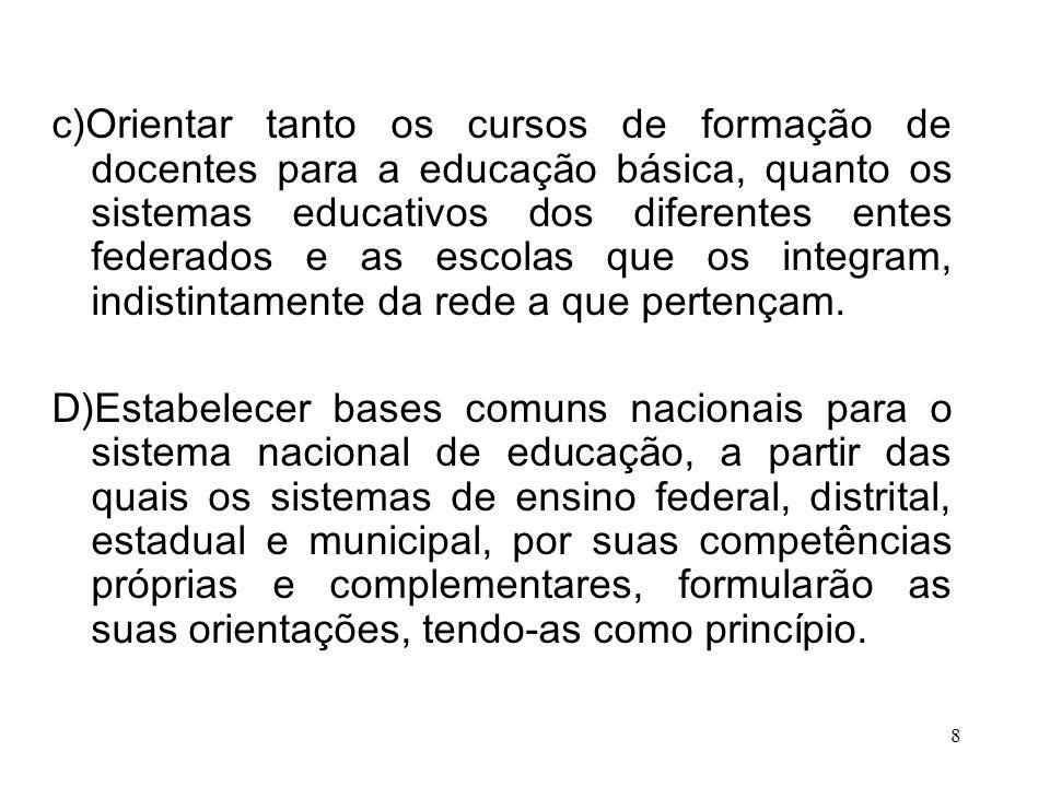 c)Orientar tanto os cursos de formação de docentes para a educação básica, quanto os sistemas educativos dos diferentes entes federados e as escolas q