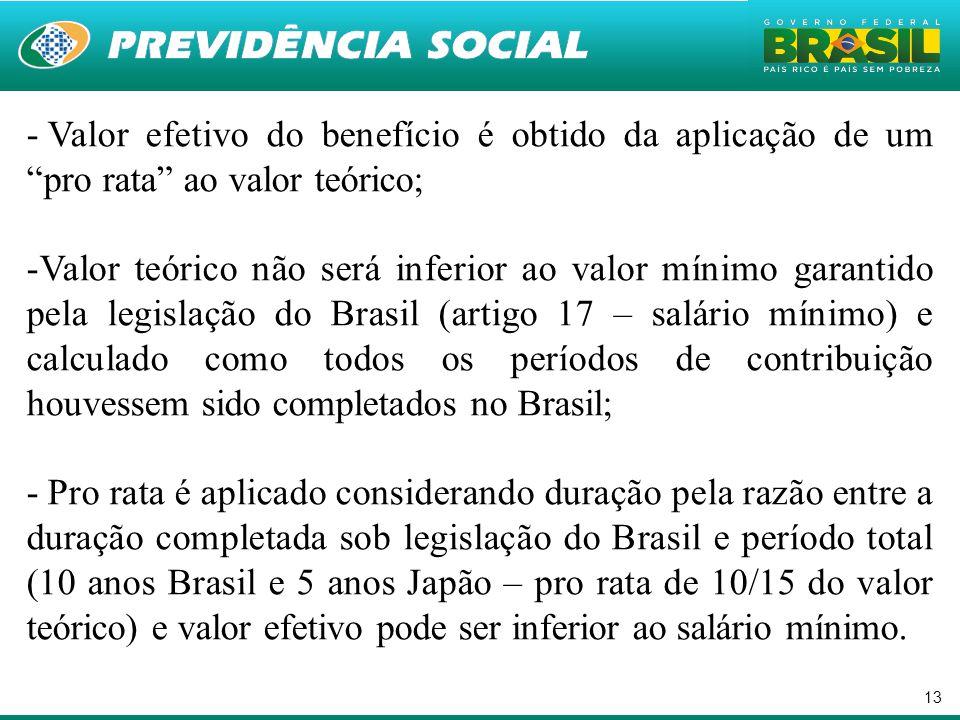 """13 - Valor efetivo do benefício é obtido da aplicação de um """"pro rata"""" ao valor teórico; -Valor teórico não será inferior ao valor mínimo garantido pe"""