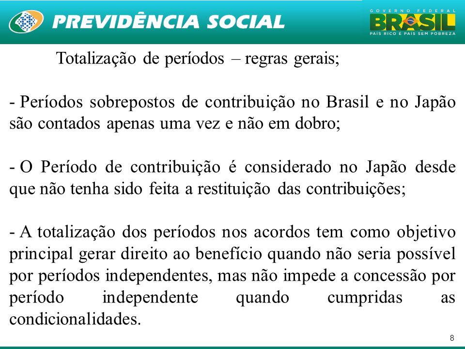 8 Totalização de períodos – regras gerais; - Períodos sobrepostos de contribuição no Brasil e no Japão são contados apenas uma vez e não em dobro; - O