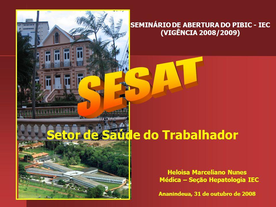 Heloisa Marceliano Nunes Médica – Seção Hepatologia IEC Ananindeua, 31 de outubro de 2008 Setor de Saúde do Trabalhador SEMINÁRIO DE ABERTURA DO PIBIC