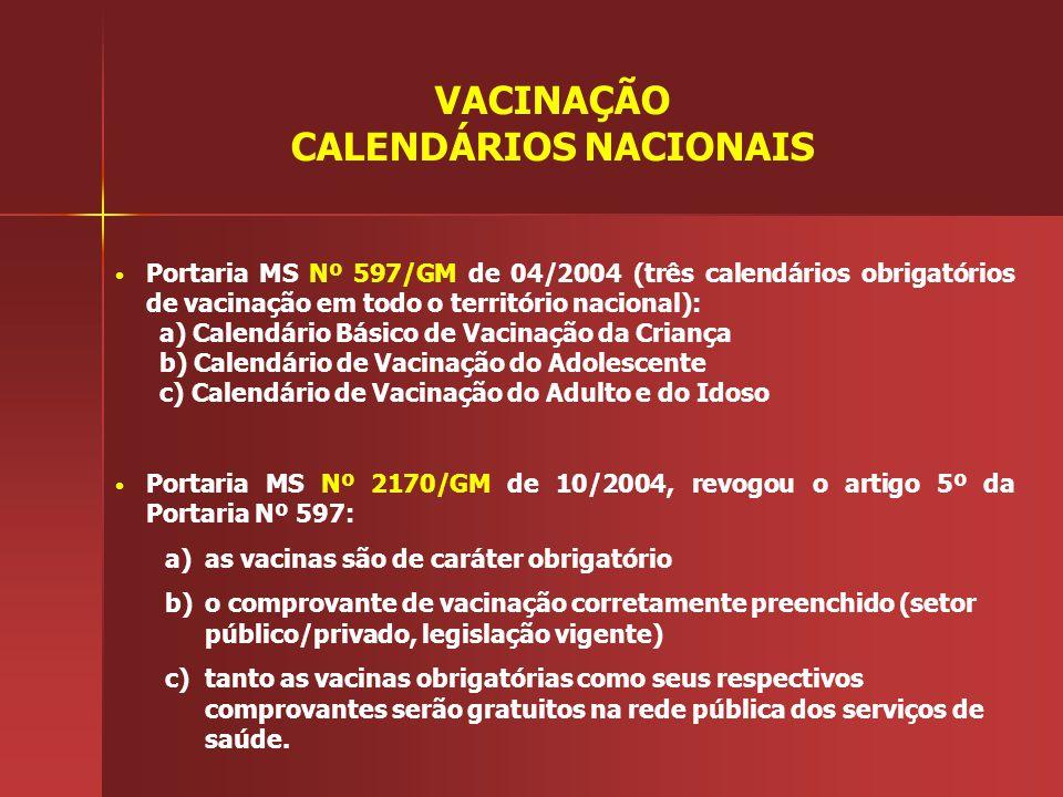 Portaria MS Nº 597/GM de 04/2004 (três calendários obrigatórios de vacinação em todo o território nacional): a) Calendário Básico de Vacinação da Cria