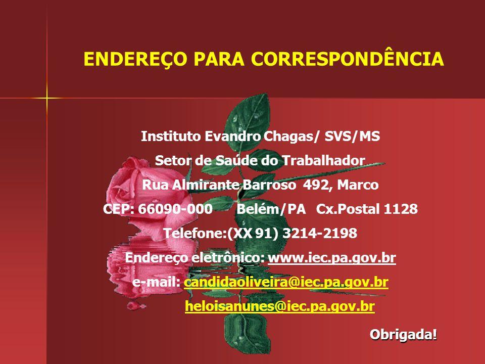 Obrigada! ENDEREÇO PARA CORRESPONDÊNCIA Instituto Evandro Chagas/ SVS/MS Setor de Saúde do Trabalhador Rua Almirante Barroso 492, Marco CEP: 66090-000