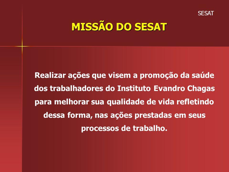 SESAT MISSÃO DO SESAT Realizar ações que visem a promoção da saúde dos trabalhadores do Instituto Evandro Chagas para melhorar sua qualidade de vida r