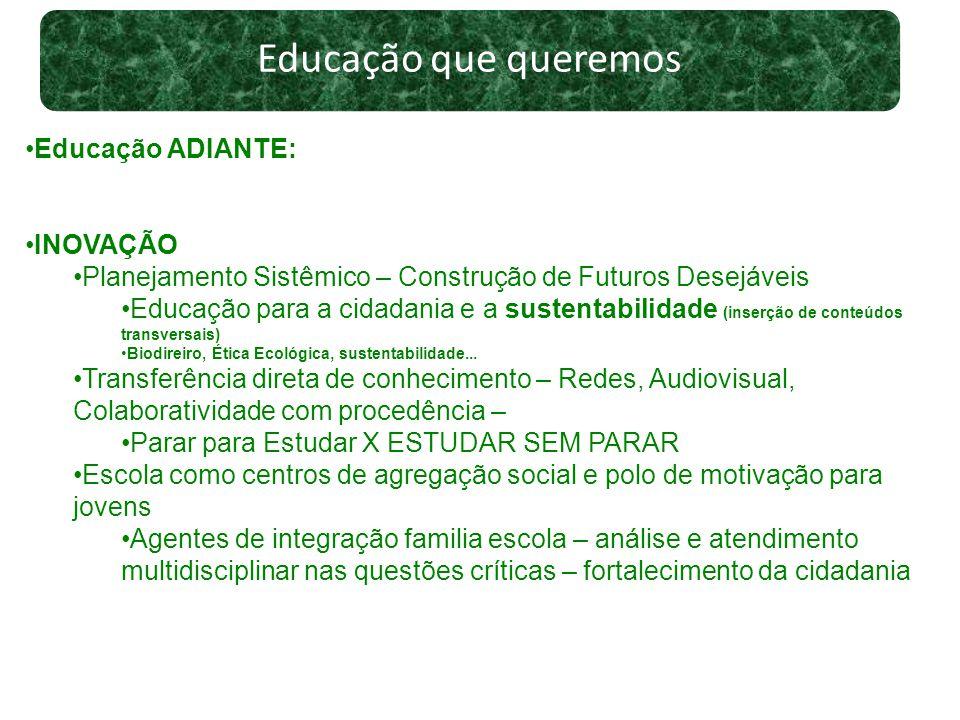 Educação que queremos Educação ADIANTE: INOVAÇÃO Planejamento Sistêmico – Construção de Futuros Desejáveis Educação para a cidadania e a sustentabilid
