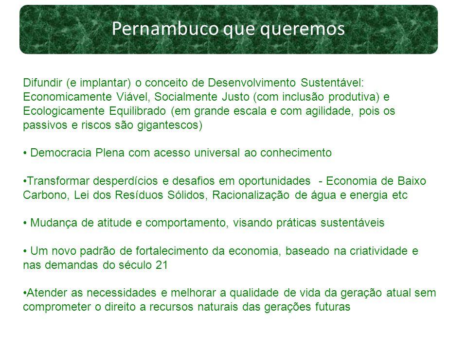 Pernambuco que queremos Difundir (e implantar) o conceito de Desenvolvimento Sustentável: Economicamente Viável, Socialmente Justo (com inclusão produ