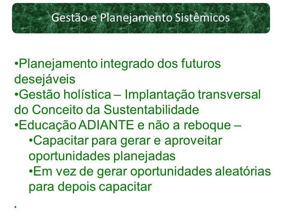 Gestão e Planejamento Sistêmicos Planejamento integrado dos futuros desejáveis Gestão holística – Implantação transversal do Conceito da Sustentabilid