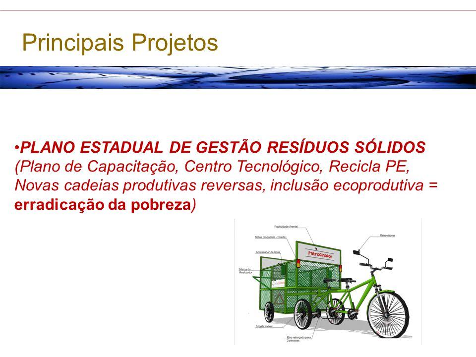 PLANO ESTADUAL DE GESTÃO RESÍDUOS SÓLIDOS (Plano de Capacitação, Centro Tecnológico, Recicla PE, Novas cadeias produtivas reversas, inclusão ecoprodut
