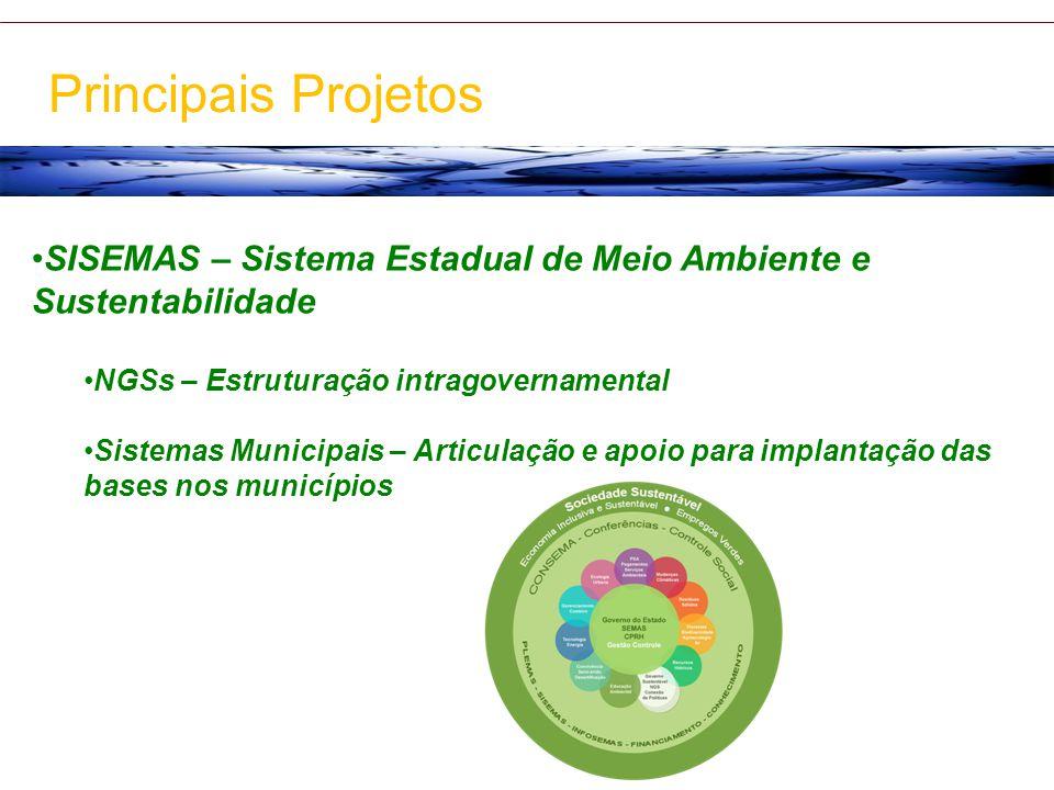 SISEMAS – Sistema Estadual de Meio Ambiente e Sustentabilidade NGSs – Estruturação intragovernamental Sistemas Municipais – Articulação e apoio para i