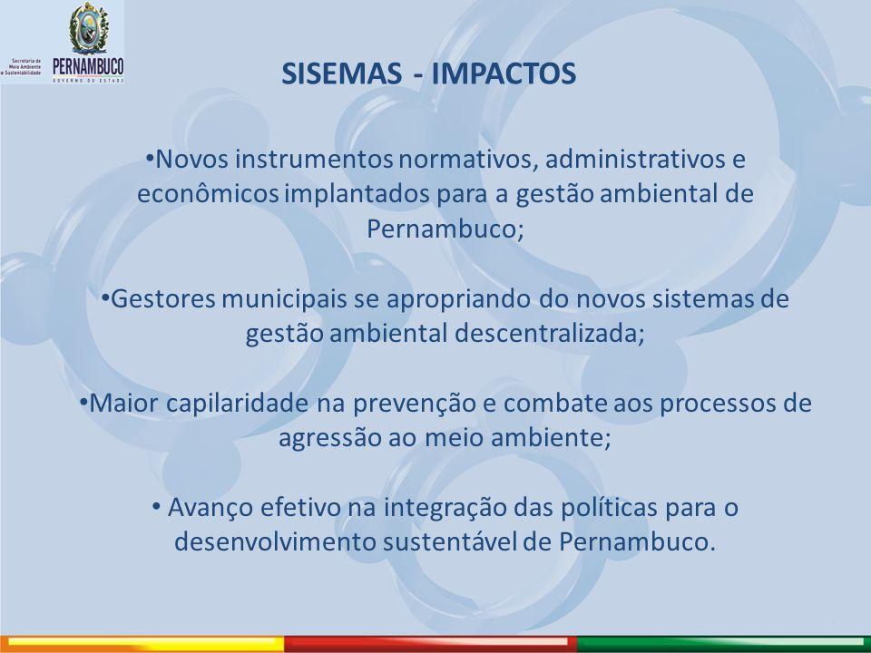 SISEMAS - IMPACTOS Novos instrumentos normativos, administrativos e econômicos implantados para a gestão ambiental de Pernambuco; Gestores municipais