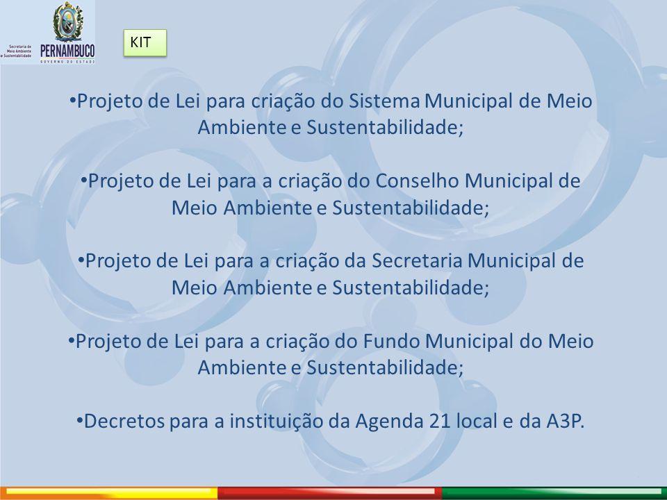 Projeto de Lei para criação do Sistema Municipal de Meio Ambiente e Sustentabilidade; Projeto de Lei para a criação do Conselho Municipal de Meio Ambi