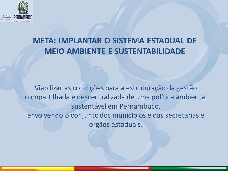 META: IMPLANTAR O SISTEMA ESTADUAL DE MEIO AMBIENTE E SUSTENTABILIDADE Viabilizar as condições para a estruturação da gestão compartilhada e descentra