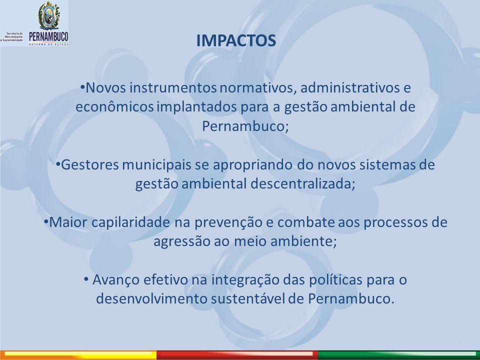 IMPACTOS Novos instrumentos normativos, administrativos e econômicos implantados para a gestão ambiental de Pernambuco; Gestores municipais se apropri