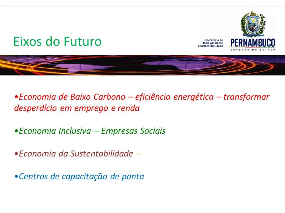 Economia de Baixo Carbono – eficiência energética – transformar desperdício em emprego e renda Economia Inclusiva – Empresas Sociais Economia da Suste