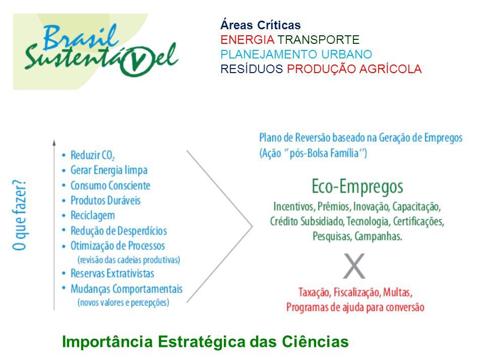 Importância Estratégica das Ciências Áreas Críticas ENERGIA TRANSPORTE PLANEJAMENTO URBANO RESÍDUOS PRODUÇÃO AGRÍCOLA