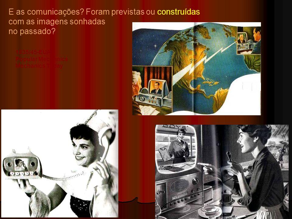 E as comunicações? Foram previstas ou construídas com as imagens sonhadas no passado? 1935/45-EUA Popular Mechanics Mechanics Today