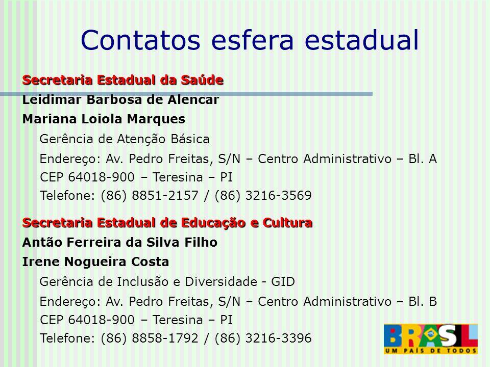 Secretaria Estadual da Saúde Leidimar Barbosa de Alencar Mariana Loiola Marques Gerência de Atenção Básica Endereço: Av.