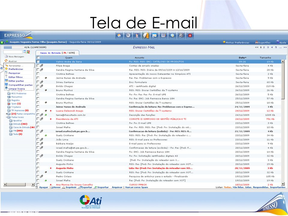 upp@ati.pe.gov.br Tela de E-mail