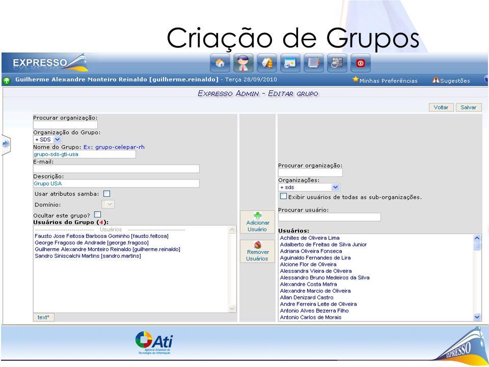 Criação de Grupos