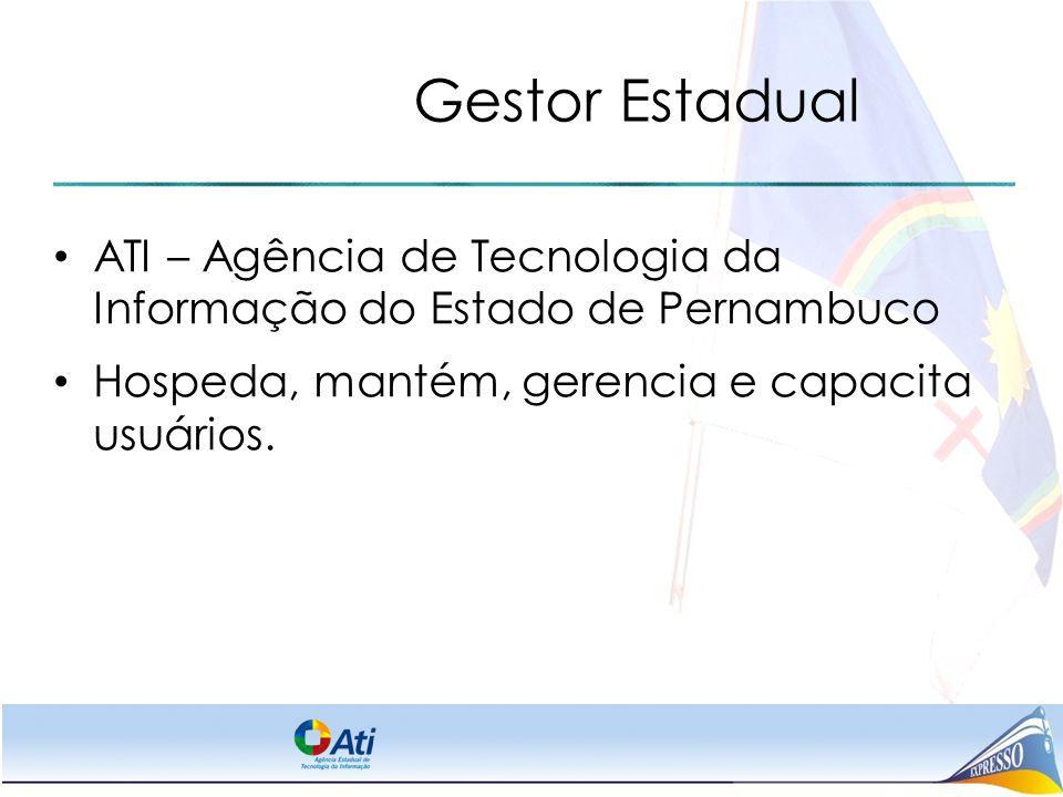 Gestor Estadual ATI – Agência de Tecnologia da Informação do Estado de Pernambuco Hospeda, mantém, gerencia e capacita usuários.