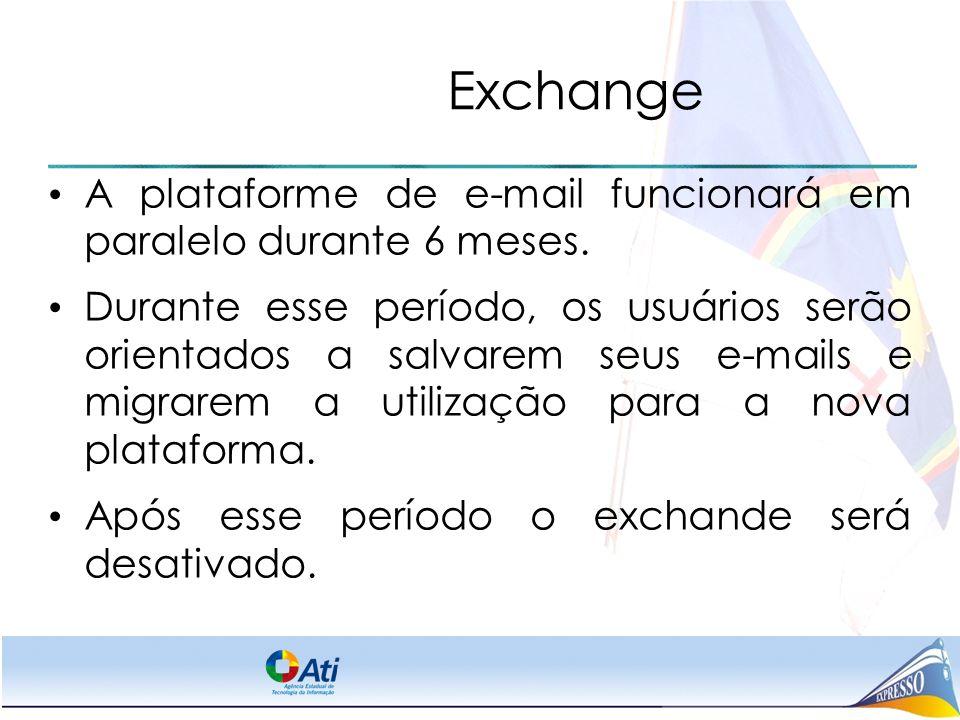Exchange A plataforme de e-mail funcionará em paralelo durante 6 meses. Durante esse período, os usuários serão orientados a salvarem seus e-mails e m
