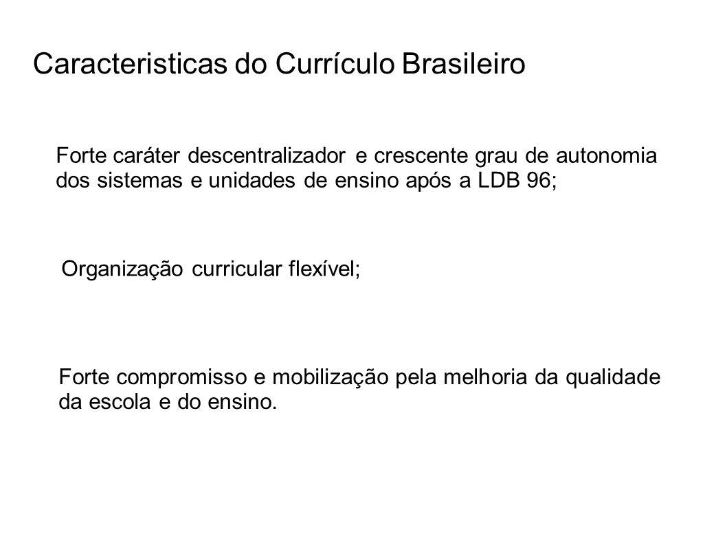 Caracteristicas do Currículo Brasileiro Forte compromisso e mobilização pela melhoria da qualidade da escola e do ensino. Organização curricular flexí