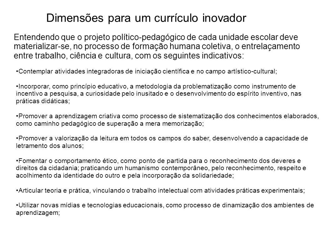 Dimensões para um currículo inovador Contemplar atividades integradoras de iniciação científica e no campo artístico-cultural; Incorporar, como princí