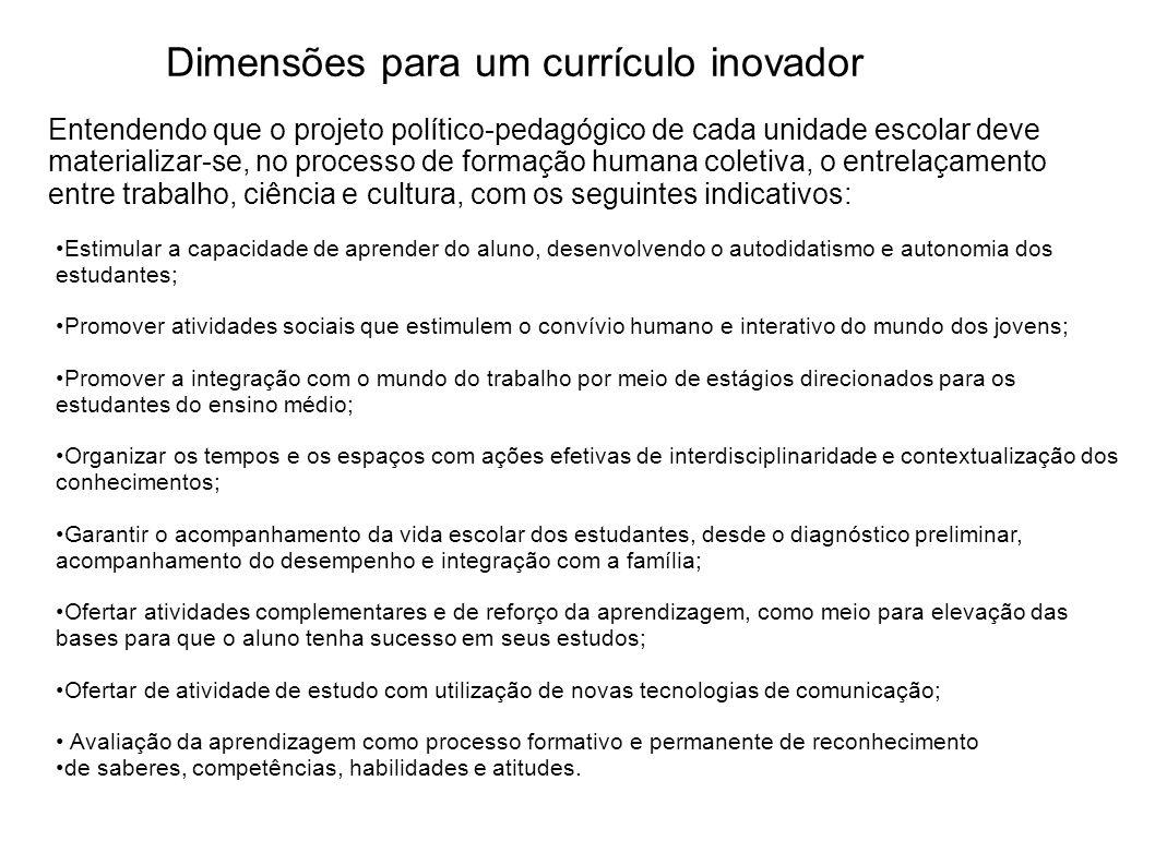 Dimensões para um currículo inovador Estimular a capacidade de aprender do aluno, desenvolvendo o autodidatismo e autonomia dos estudantes; Promover a