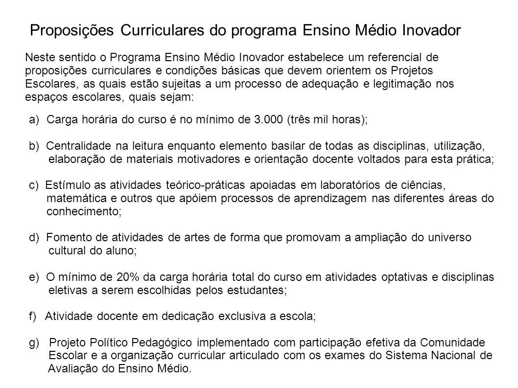 Proposições Curriculares do programa Ensino Médio Inovador a)Carga horária do curso é no mínimo de 3.000 (três mil horas); b) Centralidade na leitura