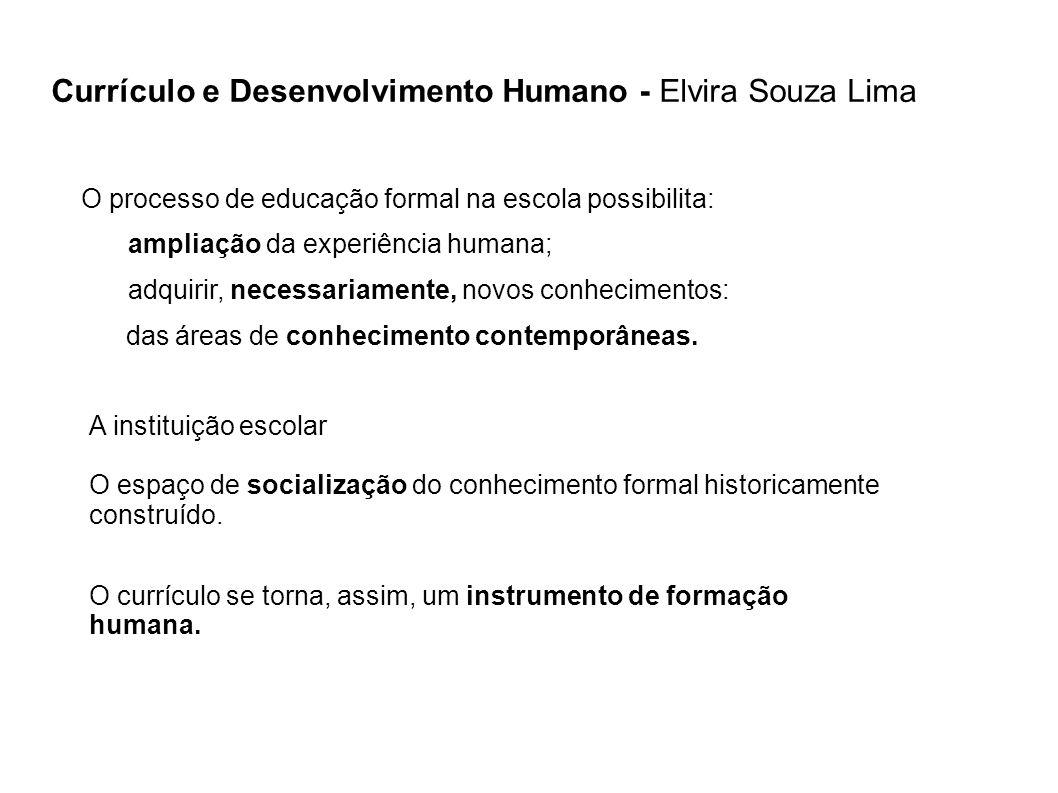 A instituição escolar O espaço de socialização do conhecimento formal historicamente construído. Currículo e Desenvolvimento Humano - Elvira Souza Lim