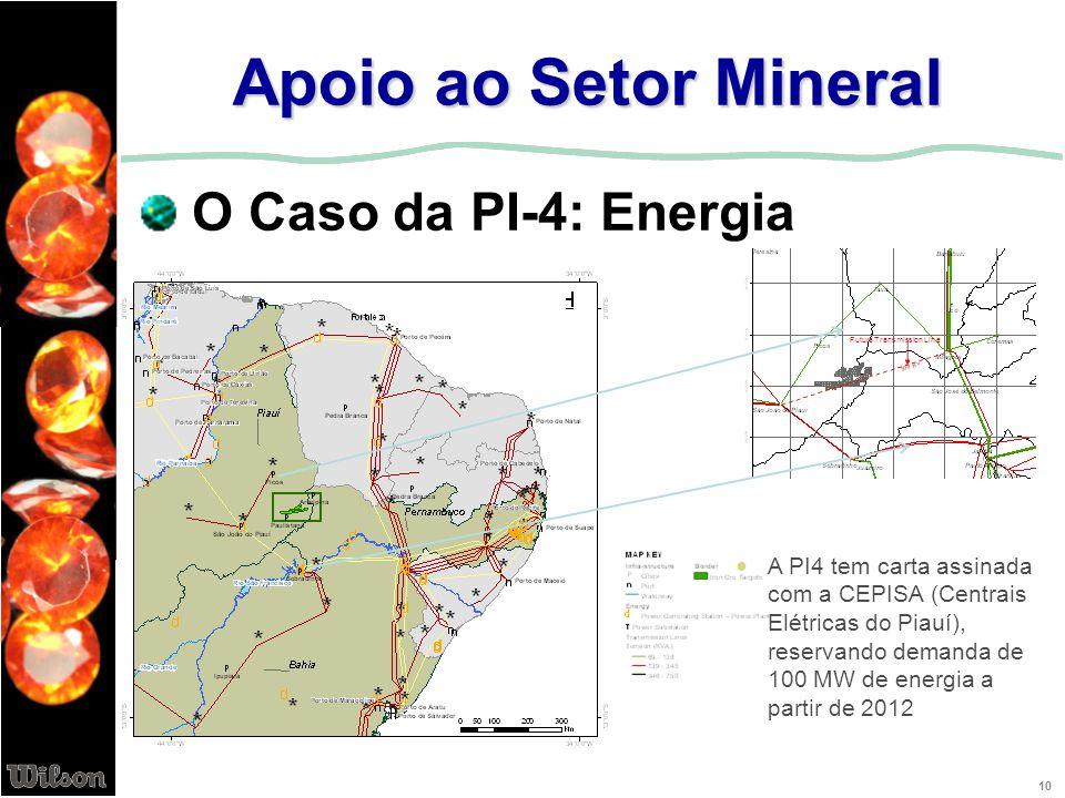 10 A PI4 tem carta assinada com a CEPISA (Centrais Elétricas do Piauí), reservando demanda de 100 MW de energia a partir de 2012 Apoio ao Setor Minera
